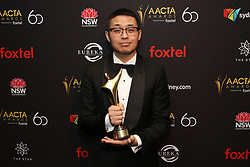 Australian Academy Cinema Television Arts (AACTA) Awards at The Star, Pyrmont. 05 Dec 2018 Pictured: Muye Wen, Director - Dying to survive poses in the media room with the AACTA Award for Best Asian Film. Photo credit: Richard Milnes / MEGA TheMegaAgency.com +1 888 505 6342