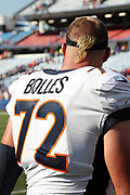 Denver Broncos rookie offensive tackle Garett Bolles (72) sports a pony tail hairdo at the 2017 NFL week 3 regular season football game against the against the Buffalo Bills, Sunday, Sept. 24, 2017 in Orchard Park, N.Y. The Bills won the game 26-16. (©Paul Anthony Spinelli)