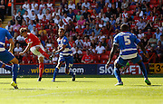 Tony Watt fires home to put Charlton in the lead early in the second half during the Sky Bet Championship match between Charlton Athletic and Queens Park Rangers at The Valley, London, England on 8 August 2015. Photo by Andy Walter.