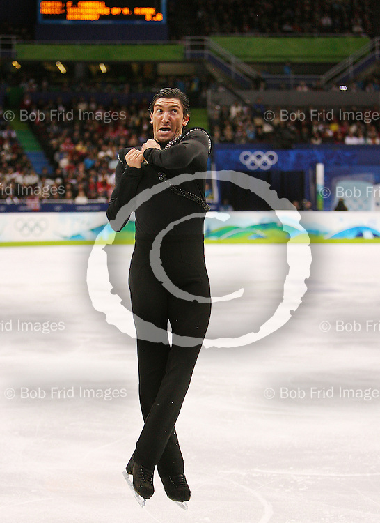 18 February 2010: Gold medalist Evan LYSACEK from the United States USA during the Men's Figure Skating Free Skate Program held at the Pacific Coliseum during the Vancouver 2010 Winter Olympics  in Vancouver,  British Columbia, Canada..
