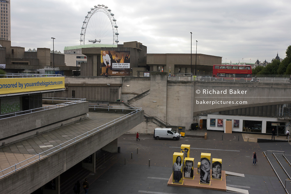 Architecture of South Bank's Queen Elizabeth Hall on London's South Bank.
