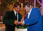 (L) Rik de Voest of South Africa and (R) Mariusz Fyrstenberg of Poland while official banquet two days before the BNP Paribas Davis Cup 2013 between Poland and South Africa at MOSiR Hall in Zielona Gora on April 03, 2013...Poland, Zielona Gora, April 03, 2013..Picture also available in RAW (NEF) or TIFF format on special request...For editorial use only. Any commercial or promotional use requires permission...Photo by © Adam Nurkiewicz / Mediasport