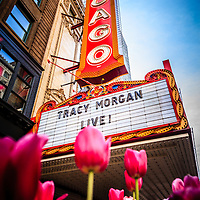 Pictue of Chicago Theatre Sign with Tracy Morgan. The Chicago Theatre is a popular venue for concerts and stage performances and is a landmark listed with the National Register of Historic Places. Photo is high resolution and vertical/portrait orientation.
