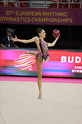 Anais Collin, Belgium, during day one of the 33rd European Rhythmic Gymnastics at Papp Laszlo Budapest Sports Arena, Budapest, Hungary on 19 May 2017. Photo by Myriam Cawston.