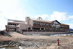 Picture taken on February 7, 2018 shows an abandoned school in Miyagi prefecture.<br /> A massive earthquake on March 11, 2011 sent a tsunami into Japan's northeast coast, leaving more than 18,000 people dead or missing and causing Fukushima nuclear crisis, which made residents near the Daiichi power plant fled their homes and business. Photo by Farzaneh Khademian/ABACAPRESS.COM