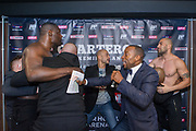 Patrice Quarteron of France and Sean Tolouee of Turkey during the official weighing Muay Thai Thai Boxing fight between Patrice Quarteron and Sean Tolouee on December 13, 2017 at AccorHotels Arena in Paris, France - Photo Pierre Charlier / ProSportsImages / DPPI