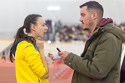 Maruša Černjul and SioL Sportal journalist Rok Viškovič during day 2 of Slovenian Athletics Indoor Championships 2020, on February 23, 2020 in Novo mesto, Slovenia. Photo by Peter Kastelic / Sportida