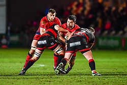 Simon Kerrod of Worcester Warriors is tackled by Rhys Buckley of Dragons - Mandatory by-line: Craig Thomas/JMP - 02/02/2018 - RUGBY - Rodney Parade - Newport, Gwent, Wales - Dragons v Worcester Warriors - Anglo Welsh Cup
