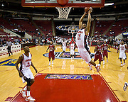 Morgan State's Jamar Smith (34) floats threw the air during their game against South Carolina State during the 2008 MEAC Basketball Tournament at the RBC Center in Raleigh, North Carolina.  Morgan won 77-68.  March 12, 2008  (Photo by Mark W. Sutton)