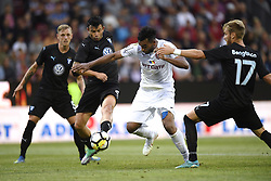 July 24, 2018 - Cluj-Napoca, Romania - CFR Cluj's Billel Omrani (C) in action against Malmö FF's Behrang Safari (L) and Rassmus Bengtsson during CFR 1907 Cluj v Malmö FF UEFA Champions League, Second Qualifying Round, Stadium Dr. Constantin Radulescu, Cluj-Napoca, Romania, 24 July 2018. (Credit Image: © Alex Nicodim/NurPhoto via ZUMA Press)