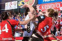 Liudmila Bodnieva of Krim vs L. Tortsenson of Aalborg at handball match of Round 2 of Champions League between RK Krim Mercator and Aalborg DH, on October 31, 2009, in Arena Kodeljevo, Ljubljana, Slovenia.  Krim won 30:23. (Photo by Vid Ponikvar / Sportida)