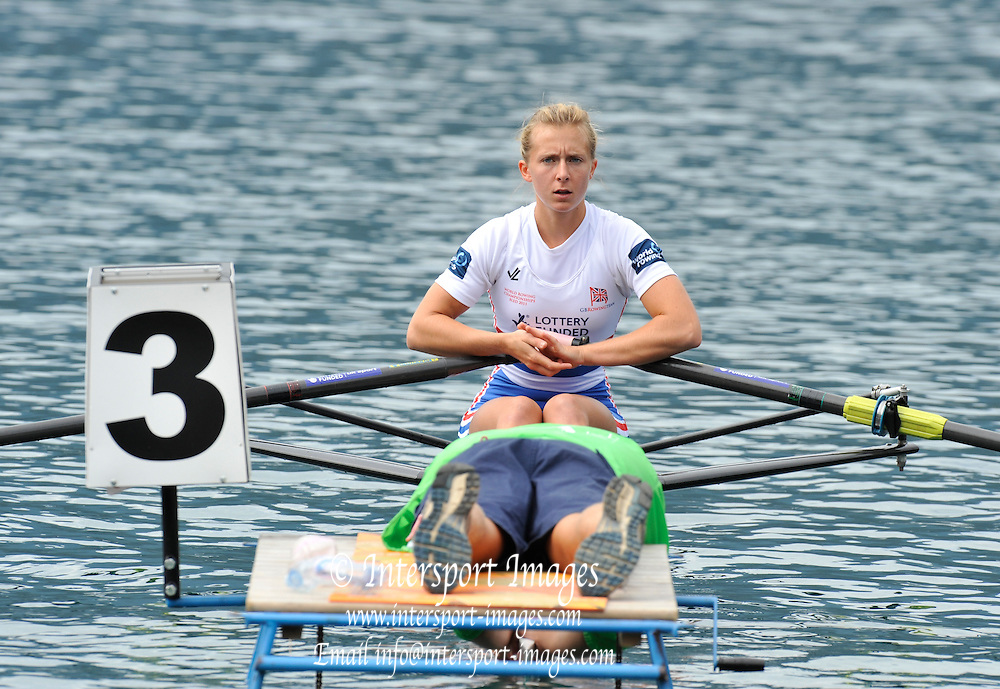 Bled, SLOVENIA. GBR LW1X, Katherine COPELAND, start. Heats, First Day.  2011 FISA World Rowing Championships, Lake Bled. Sunday  28/08/2011  [Mandatory Credit; Peter Spurrier/ Intersport Images]   Adaptive.
