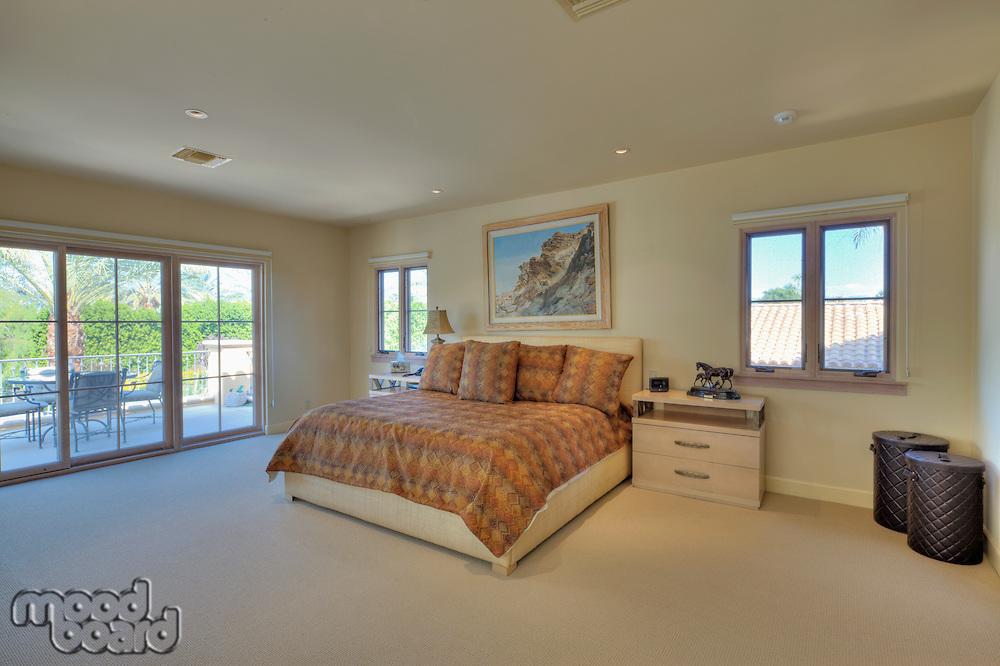 Spacious bedroom in luxury manor house