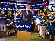 08 OCTOBER 2010 - PHOENIX, AZ:  Terry Goddard (CQ) speaks to women supporters at his campaign headquarters in downtown Phoenix Friday, Oct. 8 before a press conference. Goddard lost the election to sitting Governor Jan Brewer, a conservative Republican.     PHOTO BY JACK KURTZ