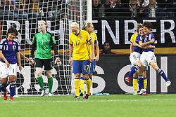 13.07.2011, Commerzbank Arena, Frankfurt, GER, FIFA Women Worldcup 2011, Halbfinale,  Japan (JPN) vs. Schweden (SWE), im Bild.Torjubel / Jubel  nach dem 1:1 durch Nahomi Kawasumi (Japan) mit Yukari Kinga (Japan).. // during the FIFA Women´s Worldcup 2011, Semifinal, Japan vs Sweden on 2011/07/13, Commerzbank Arena, Frankfurt, Germany.   EXPA Pictures © 2011, PhotoCredit: EXPA/ nph/  Mueller       ****** out of GER / CRO  / BEL ******