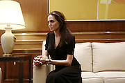 March 16, 2016 - Athens, Attica, Greece - <br /> <br /> Angelina Jolie Visits Refugee Camp in Greece<br /> <br /> Greek PM Alexis Tsipras, received American actress and Special Envoy to the UN High Commissioner for Refugees (UNHCR), Angelina Jolie, in his office at Maximos mansion. In Athens, Greece, on March 16, 2016  <br /> ©Exclusivepix Media
