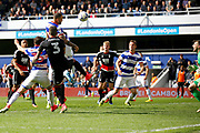 Queens Park Rangers defender Joel Lynch (6) scores a goal (score 2-0) during the EFL Sky Bet Championship match between Queens Park Rangers and Nottingham Forest at the Loftus Road Stadium, London, England on 29 April 2017. Photo by Andy Walter.