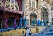 Indian women visiting the Amber Fort, Jaipur, Rajasthan, India