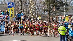 2014 Boston Marathon: elite women start race in Hopkinton