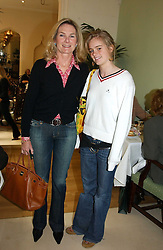 LADY MARY-GAYE CURZON and her daughter MISS CRESSIDA BONAS at a fashion show of Sybil Stanislaus Summer 2005 collection with jewellery by Philippa Holland held at The Lanesborough Hotel, Hyde Park Corner, London on 13th April 2005.<br />