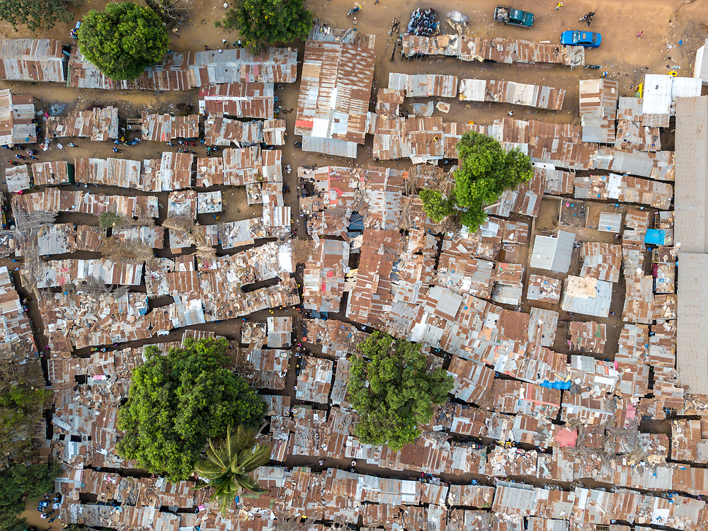 Overhead view of the market in Ganta, Liberia Ganta, Liberia
