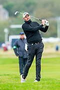 Matthew Southgate plays his second shot to the green on the 3rd hole during the final round of the Alfred Dunhill Links Championship European Tour at St Andrews, West Sands, Scotland on 29 September 2019.