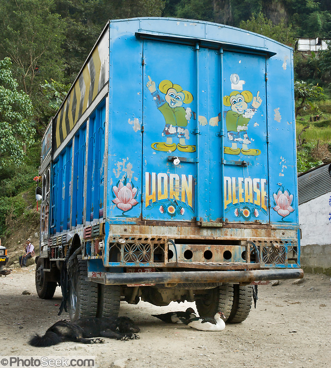 "A dog sleeps and ducks rest beneath a truck, with ""Horn Please"" sign, in the town of Naya Pul, an important gateway to the Annapurna Conservation Area, in Nepal."
