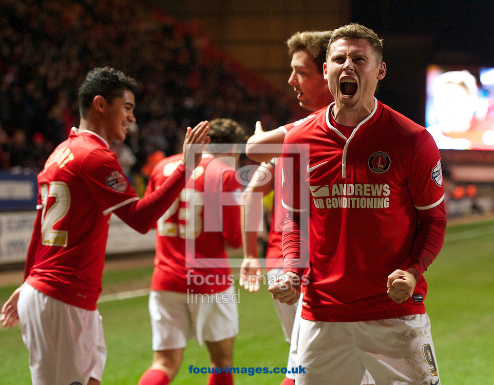 Picture by Alan Stanford/Focus Images Ltd +44 7915 056117<br /> 26/11/2013<br /> Simon Church of Charlton Athletic celebrates his goal during the Sky Bet Championship match at The Valley, London.