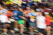 Abstract view of blurred runners at the ING New York City Marathon, Central Park, Manhattan.