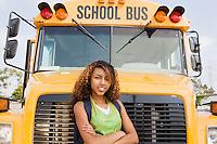 Teenager Girl by School Bus