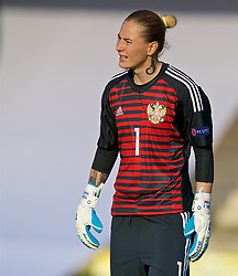 NEWPORT, WALES - Tuesday, June 12, 2018: Russia's goalkeeper Elvira Todua during the FIFA Women's World Cup 2019 Qualifying Round Group 1 match between Wales and Russia at Newport Stadium. (Pic by David Rawcliffe/Propaganda)