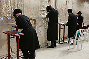 Israel, Jerusalem, Old City, Wailing Wall Jewish men at prayer