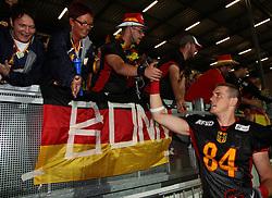 29.07.2010, Brita Arena, Wiesbaden, GER, Football EM 2010, Team Finland vs Team Germany, im Bild Fans gratulieren Niklas Roemer, (Team Germany, WR, #84) zum Sieg,  EXPA Pictures © 2010, PhotoCredit: EXPA/ T. Haumer / SPORTIDA PHOTO AGENCY