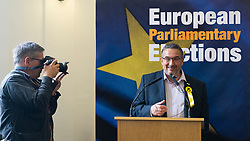 Edinburgh, Scotland, UK. 27 May, 2019. The six new Scottish MEPs are declared at the City Chambers in Edinburgh, SNP's Alyn Smith, Christian Allard and Aileen McLeod, Louis Stedman-Bruce from the Brexit Party, Sheila Ritchie of the Liberal Democrats and Baroness Nosheena Mobarik of the Conservatives. Pictured Christian Allard