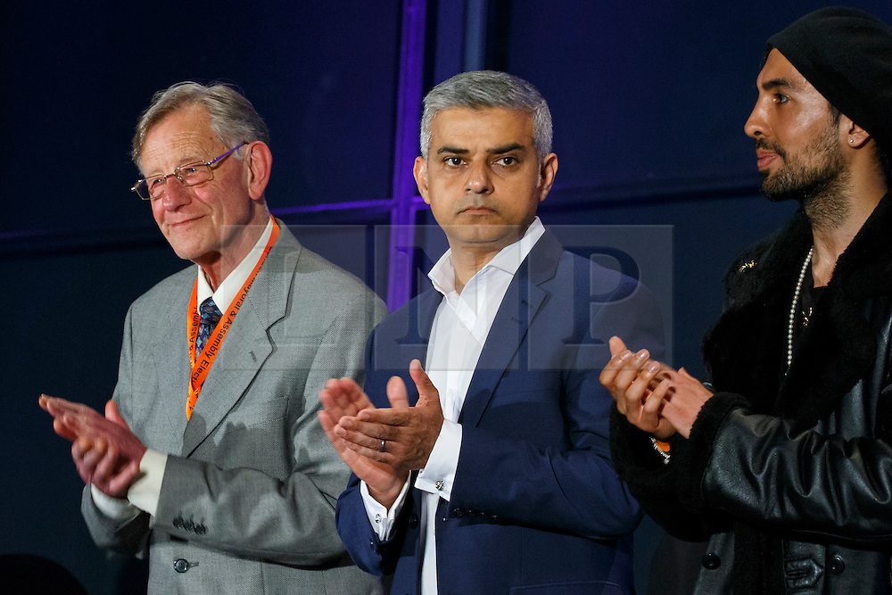 © Licensed to London News Pictures. 07/05/2016. London, UK. London Mayoral candidates reacting to announcement of the election results at City Hall in London on Saturday, 7 May 2016. Labour MP Sadiq Khan has declared his victory and accused his Conservative counterpart, Zac Goldsmith MP of using underhand tactics during the campaign. Photo credit: Tolga Akmen/LNP