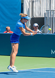 August 5, 2018 - San Jose, CA, U.S. - SAN JOSE, CA - AUGUST 05: Kveta Peschke (CZE) places a backhand during the WTA Doubles Championship match at the Mubadala Silicon Valley Classic on the San Jose State University Stadium Court in San Jose, CA  on Sunday, August 5, 2018. (Photo by Douglas Stringer/Icon Sportswire) (Credit Image: © Douglas Stringer/Icon SMI via ZUMA Press)