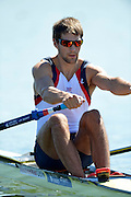 Varese,  ITALY. 2012 FISA European Championships, Lake Varese Regatta Course. ..GBR M1X. Graeme THOMAS, at the start of his heat of the Men's Single Sculls..12:34:03  Friday  14/09/2012 .....[Mandatory Credit Peter Spurrier:  Intersport Images]  ..2012 European Rowing Championships Rowing, European,  2012 010774.jpg.....