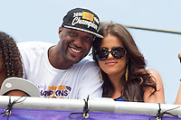 21 June 2010: Lamar Odom of the Los Angeles Lakers and his wife Khloe Kardashian celebrate during the Lakers Championship Victory Parade on Figueroa BL. in Los Angeles, CA after the Lakers won the 2010 NBA Championship over the Boston Celtics in Game 7 of the NBA Finals.