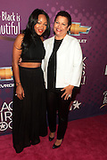 October 13, 2012- Bronx, NY: (L-R) Actress Meagan Goode and Debra Lee, President & CEO, BET Networks at the Black Girls Rock! Awards Red Carpet presented by BET Networks and sponsored by Chevy held at the Paradise Theater on October 13, 2012 in the Bronx, New York. BLACK GIRLS ROCK! Inc. is 501(c)3 non-profit youth empowerment and mentoring organization founded by DJ Beverly Bond, established to promote the arts for young women of color, as well as to encourage dialogue and analysis of the ways women of color are portrayed in the media. (Terrence Jennings)