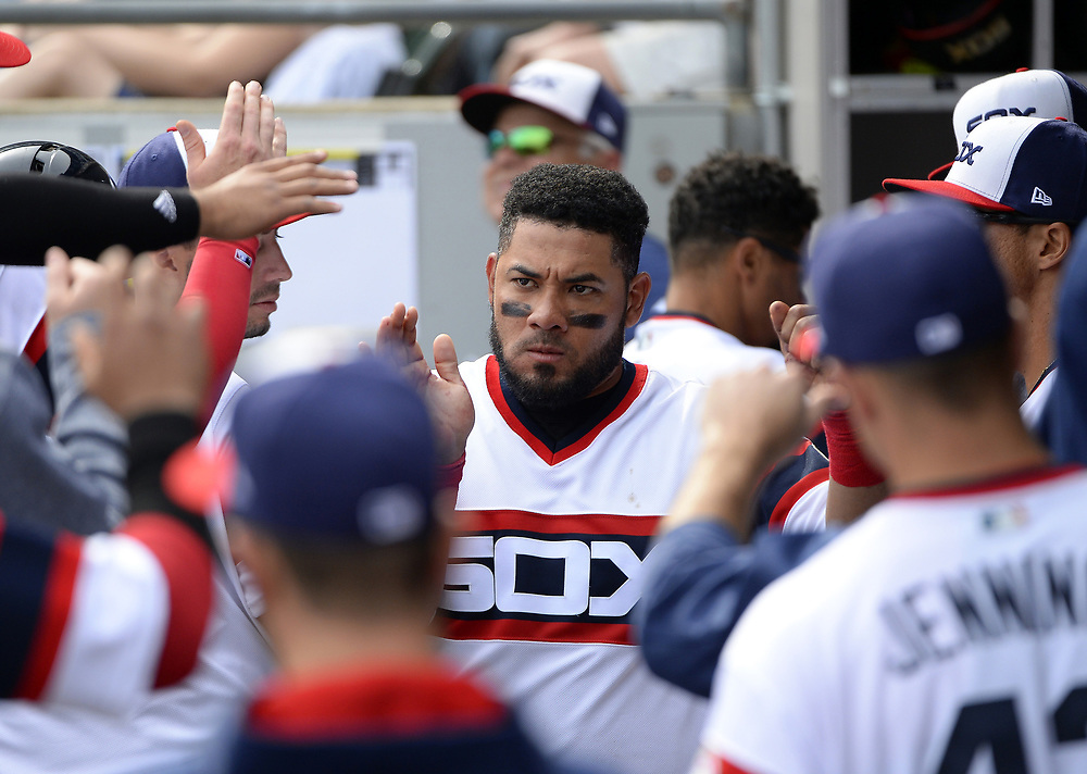 CHICAGO - APRIL 09:  Melky Cabrera #53 of the Chicago White Sox celebrates with teammates during the game against the Minnesota Twins on April 9, 2017 at Guaranteed Rate Field in Chicago, Illinois.  (Photo by Ron Vesely)   Subject:  Melky Cabrera