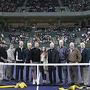March 1, 2014, Indian Wells, California: <br /> Dignitaries take part in a ribbon cutting ceremony for the newly constructed Stadium 2 at the Indian Wells Tennis Garden before the McEnroe Challenge for Charity presented by Esurance.<br /> (Photo by Billie Weiss/BNP Paribas Open)