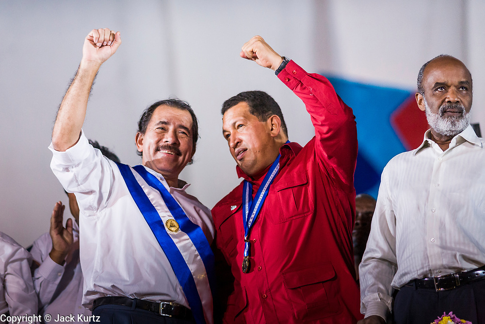 "10 JANUARY 2007 - MANAGUA, NICARAGUA: DANIEL ORTEGA, President of Nicaragua, left, and HUGO CHAVEZ, President of Venezuela, at Ortega's inauguration in Managua. Daniel Ortega, the leader of the Sandanista Front, was sworn in as the President of Nicaragua Wednesday. Ortega and the Sandanistas ruled Nicaragua from their victory of ""Tacho"" Somoza in 1979 until their defeat by Violetta Chamorro in the 1990 election.  Photo by Jack Kurtz"