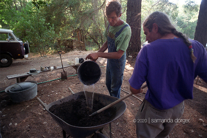 Noble and Kantor make a soil mixture for soil blocks, which are used for seedlings.