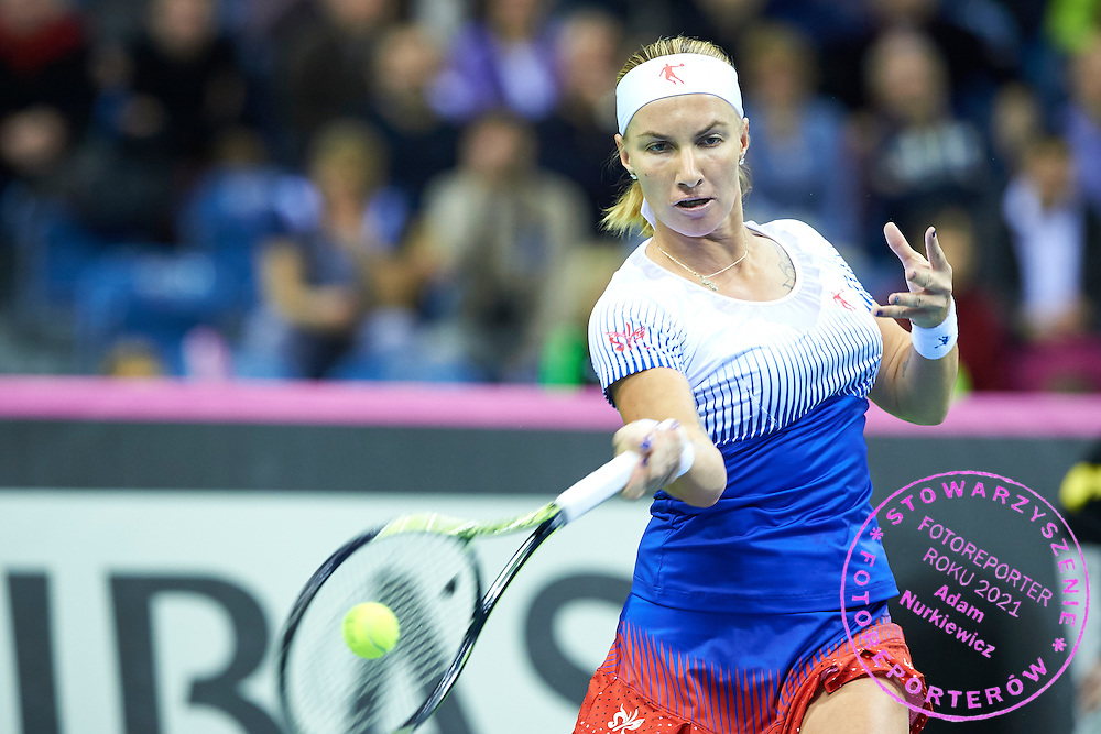 Svetlana Kuznetsovafrom Russia in action during First Day of the Fed Cup / World Group 1st round tennis match between Poland and Russia at Tauron Krakow Arena on February 7, 2015 in Cracow, Poland.<br /> <br /> Poland, Cracow, February 7, 2015<br /> <br /> Picture also available in RAW (NEF) or TIFF format on special request.<br /> <br /> For editorial use only. Any commercial or promotional use requires permission.<br /> <br /> Adam Nurkiewicz declares that he has no rights to the image of people at the photographs of his authorship.<br /> <br /> Mandatory credit:<br /> Photo by &copy; Adam Nurkiewicz / Mediasport