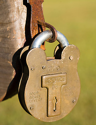 A Squire lock on the stockades on the grounds of Ninety Siix National Historic Site, near Ninety-Six, SC.