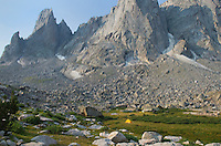 Backcountry campsite in Cirque of the Towers, Popo Agie Wilderness, Wind River Range Wyoming