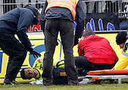 FC Basel player Behrang SAFARI is being cared during the AXPO Super League (National League A) soccer match between FC Luzern (FCL) and FC Basel (FCB) at the Gersag stadium in Emmenbruecke, Switzerland, Sunday, February 27, 2011. (Photo by Patrick B. Kraemer / MAGICPBK)