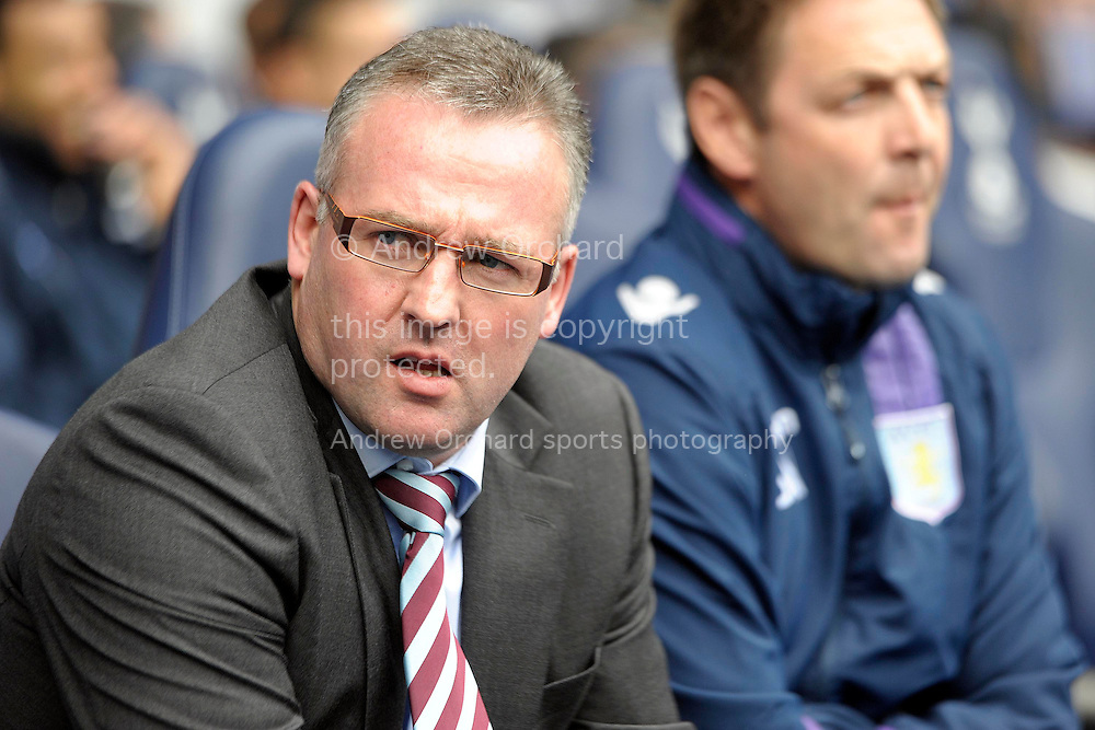 Aston Villa's head coach Paul Lambert looks on. Barclays premier league match ,Tottenham Hotspur v Aston Villa at White Hart Lane in Tottenham, London  on Sunday 11th May 2014.<br /> pic by John Patrick Fletcher, Andrew Orchard sports photography.