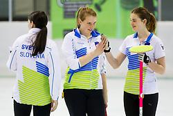 Nika Svetina, Ana Smolej and Patricija Cerne of Slovenia during curling match between National teams of Slovenia and Lithuania in 6th Round of European Curling Championship on April 29, 2016 in Ledena dvorana Zalog, Ljubljana, Slovenia. Photo By Urban Urbanc / Sportida