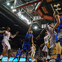 16 February 2013:   Duke Blue Devils guard Seth Curry (30) in action against Maryland Terrapins guard/forward Dez Wells (32) at the Comcast Center in College Park, MD.